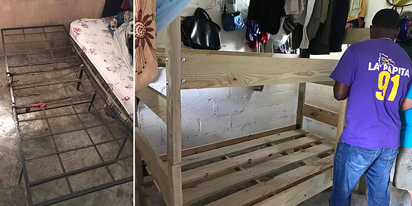 Dominican Republic missions team building bunk beds