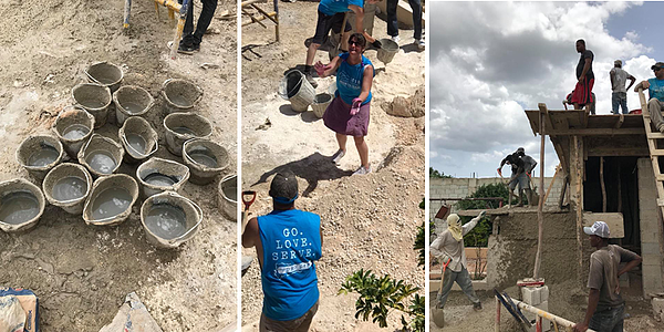 2018 Dominican Republic missions team working on building roof